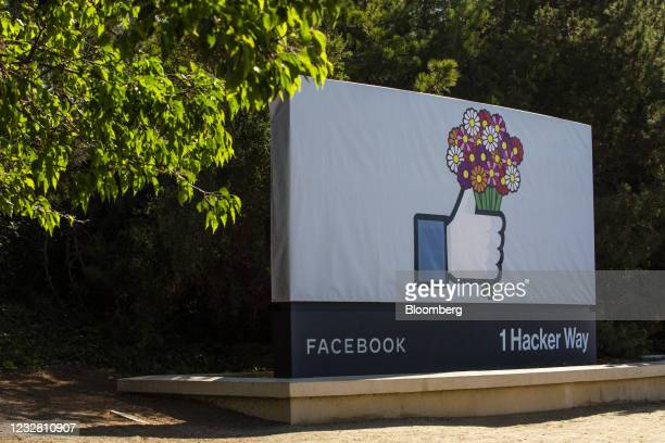 Signage at the Facebook headquarters in Menlo Park, California, U.S., on Monday, May 10, 2021. Facebook Inc. Reopens its Menlo Park offices at 10%...