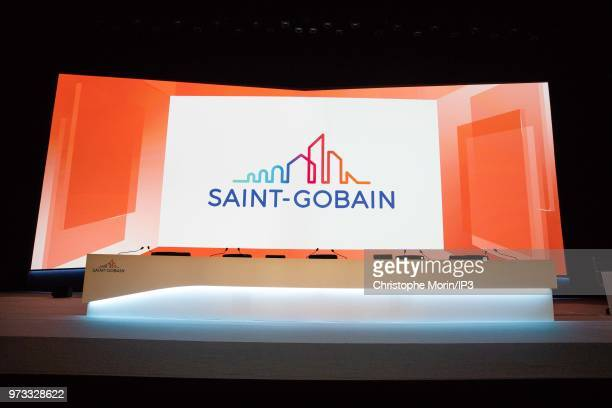 Signage at the french building materials giant SaintGobain group's general meeting on June 7 2018 in Paris France The general meeting announced the...