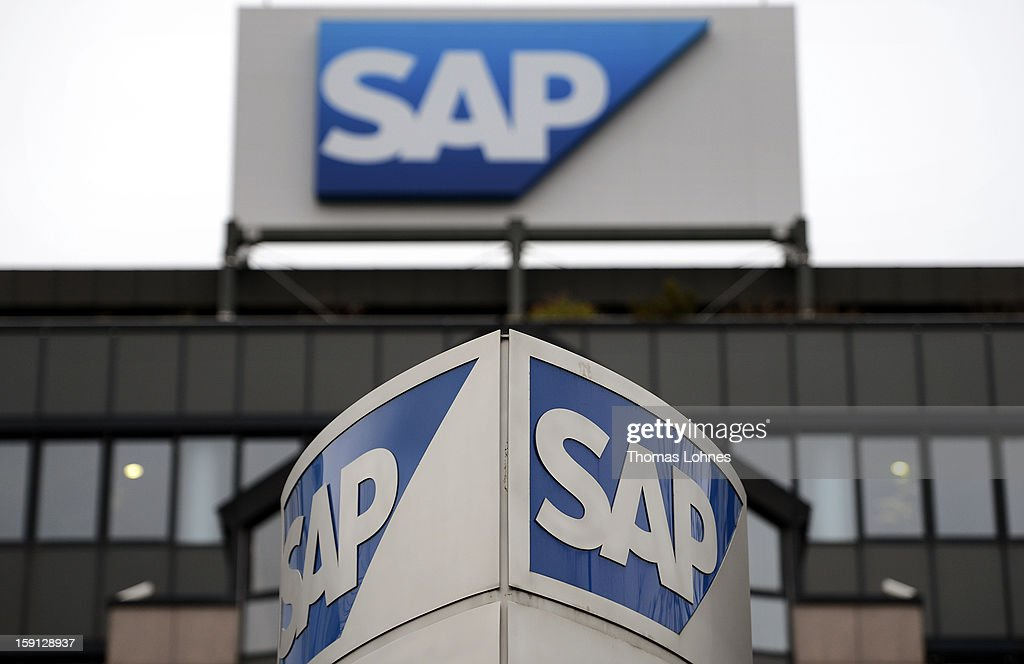 Signage at the headquarters of SAP AG, Germany's largest software company on January 8, 2013 in Walldorf, Germany. The software giant plans to continue to expand its research and development centres throughout Asia.