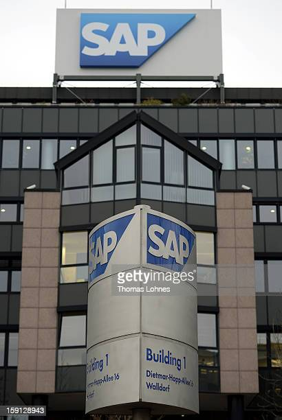 Signage at the headquarters of SAP AG Germany's largest software company on January 8 2013 in Walldorf Germany The software giant plans to continue...