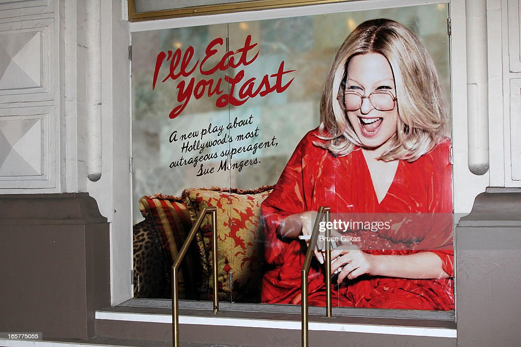 Signage at the hit comedy 'I'll Eat you Last' on Broadway at The Booth Theater on April 5, 2013 in New York City.