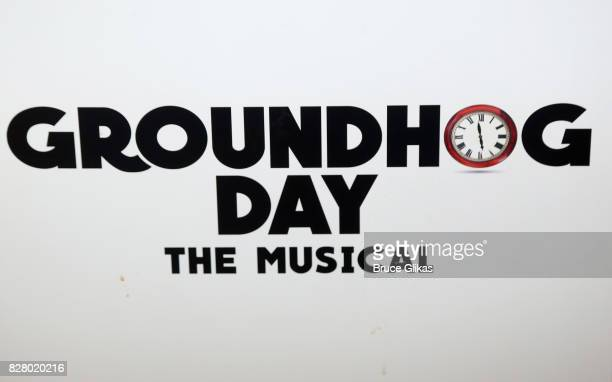 Signage at the hit musical based on the 1993 Bill Murray film Groundhog Day on Broadway at The August Wilson Theatre on August 8 2017 in New York...
