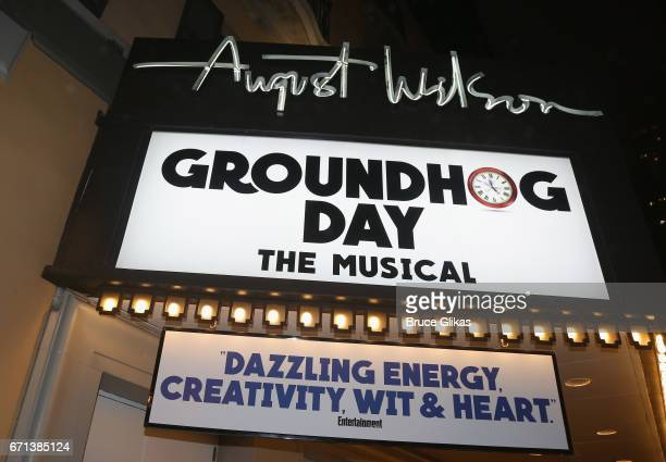 Signage at the hit musical based on the film Groundhog Day on Broadway at The August Wilson Theater on April 21 2017 in New York City
