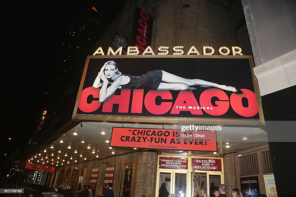 Signage at the hit musical 'Chicago' on Broadway at The Ambassador Theater on February 20, 2018 in New York City.