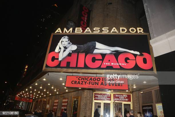 Signage at the hit musical Chicago on Broadway at The Ambassador Theater on February 20 2018 in New York City