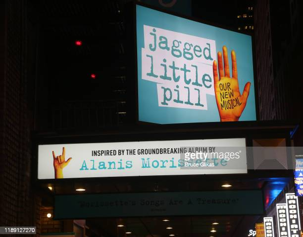 Signage at the new Alanis Morissette musical Jagged Little Pill on Broadway at The Broadhurst Theatre on November 20 2019 in New York City
