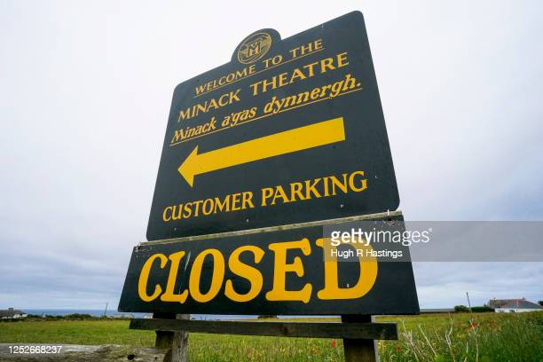 Signage at the open air Minack Theatre set in to the cliffs at Porthcurno on June 26 2020 in Cornwall United Kingdom Actors who work regularly at the...
