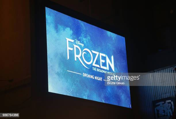 Signage at the opening night of Disney's new hit musical Frozen on Broadway at The St James Theatre on March 22 2018 in New York City