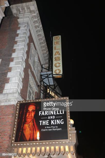 Signage at The Opening Night of 'Farinelli and The King' on Broadway at The Belasco Theatre on December 17 2017 in New York City