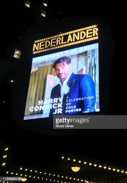 """Signage at the opening night of """"Harry Connick Jr - A Celebration Of Cole Porter"""" on Broadway at The Nederlander Theatre on December 12, 2019 in New..."""