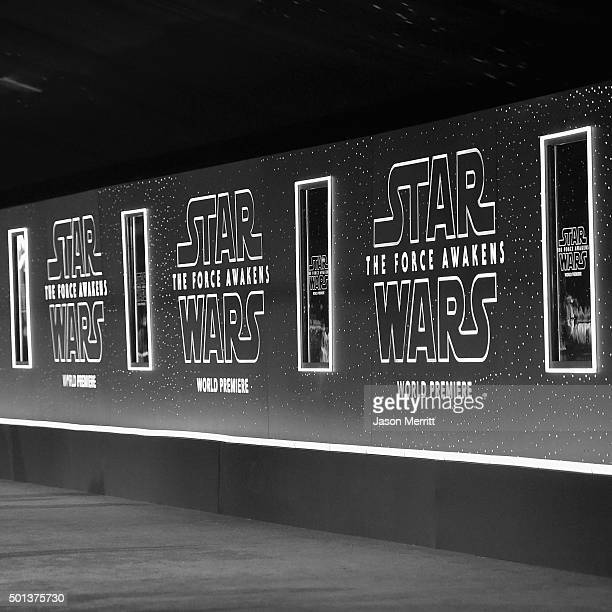 Signage at The Premiere of Walt Disney Pictures and Lucasfilm's Star Wars The Force Awakens on December 14 2015 in Hollywood California