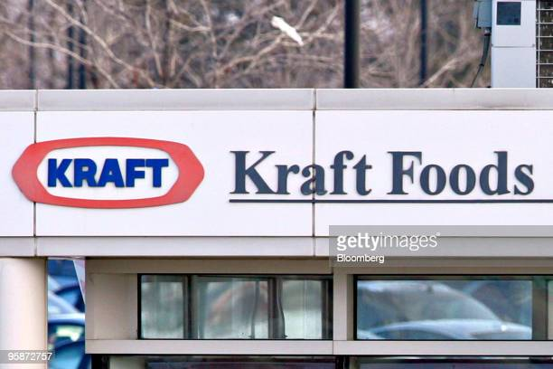 Signage displayed at a security checkpoint outside Kraft Foods Inc's headquarters in Northfield Illinois US on Tuesday Jan 19 2010 Cadbury Plc agreed...
