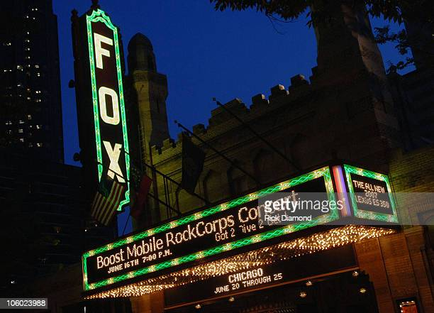 Signage during Boost Mobile RockCorps Concert Tickets for community service at The Fox Theater in Atlanta Georgia United States