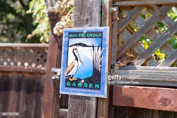 Signage for a Bay Friendly Garden, part of a program to encourage gardening which protects the San Francisco Bay, at Coyote Hills Regional Park, an...