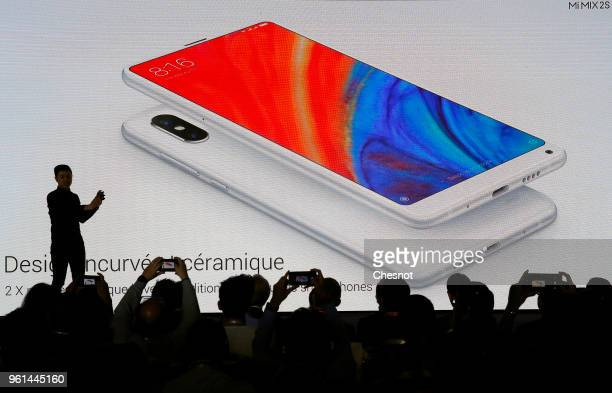 Signage for a Mi Mix 2S smartphone of the Chinese electronics and computer company Xiaomi specializing in mobile telephony, is displayed at the...