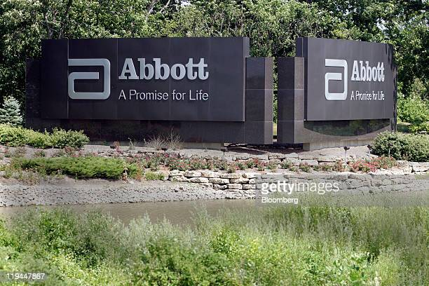 Signage for Abbott Laboratories stands at the company's headquarters in Abbott Park, Illinois, U.S., on Wednesday, July 20, 2011. Abbott...