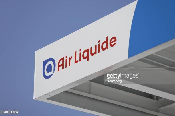 Signage for Air Liquide SA is displayed at the Kawasaki Hydrogen Station operated by Air Liquide Japan Ltd in Kawasaki Kanagawa Prefecture Japan on...