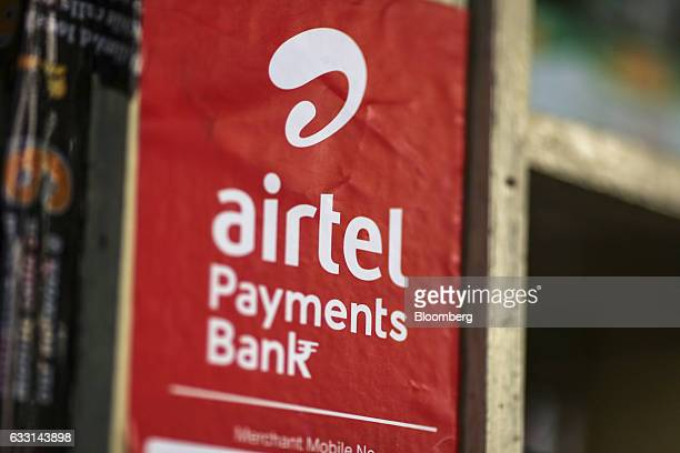 Signage for Airtel Payments Bank Ltd operated by Bharti Airtel Ltd is displayed outside a store in Mumbai India on Friday Jan 27 2017 India's Finance...