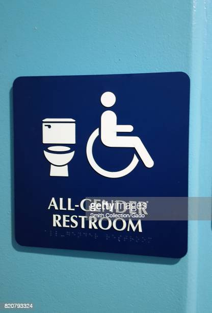 Signage for an allgender restroom in the San Francisco Bay Area town of San Ramon California July 20 2017 In 2017 California AB1732 made all...