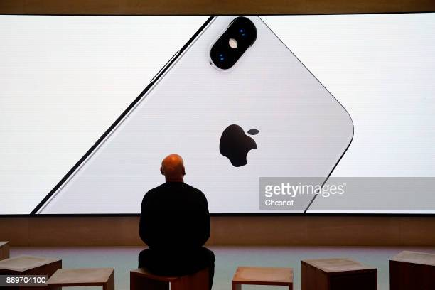 A signage for an Apple iPhone X the new model of Apple smartphone is displayed inside the Apple Store SaintGermain on November 3 2017 in Paris France...