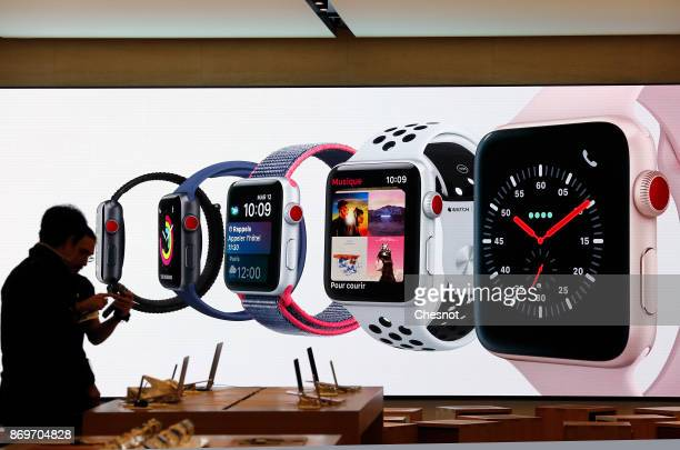 A signage for an Apple Watch Series 3 is displayed inside the Apple Store SaintGermain the day of the launch of the Apple iPhone X the new model of...
