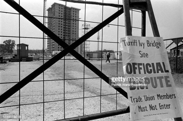 Signage for an Official Labour Dispute at the Turriff Ivy Bridge building site in Hounslow, West London, circa June 1969. From a series of images to...