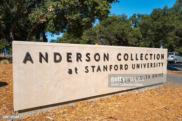 Signage for Anderson Collection, on the campus of Stanford University in the Silicon Valley town of Palo Alto, California, August 25, 2016. .