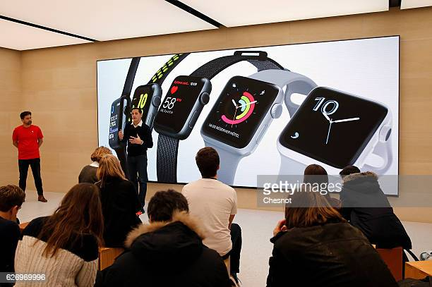 A signage for Apple Watch is displayed inside the new Apple store Saint Germain during the press day on December 01 2016 in Paris France On December...