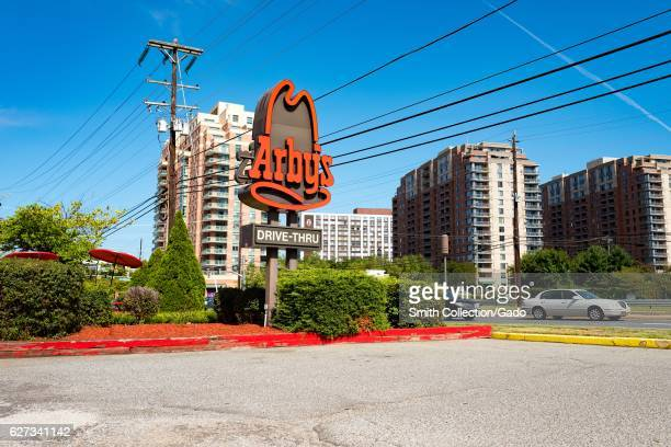 Signage for Arby's fast food restaurant in Rockville Maryland September 25 2016 Situated close to Washington DC Rockville is a popular city among...