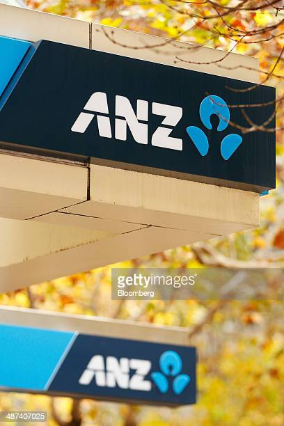 Signage for Australia New Zealand Banking Group Ltd is displayed outside one of the bank's branches in Sydney Australia on Wednesday April 30 2014...