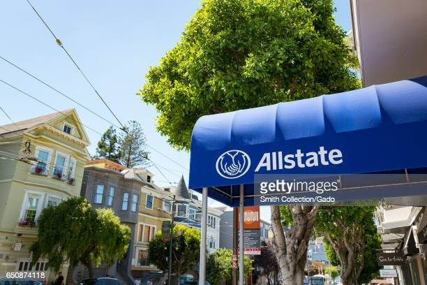Signage for branch of Allstate insurance company in the Cow Hollow neighborhood of San Francisco California August 28 2016