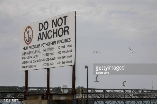 Signage for buried pipelines near the Enbridge Line 5 pipeline in Sarnia, Ontario, Canada, on Tuesday, May 25, 2021. Enbridge Inc. Said it will...