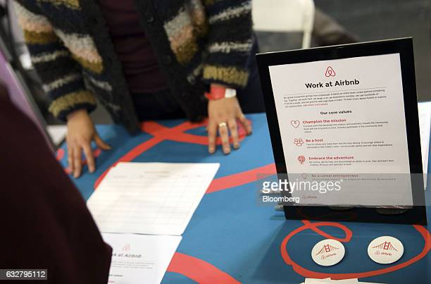Signage for careers with Airbnb Inc is displayed during the TechFair LA job fair in Los Angeles California US on Thursday Jan 26 2017 Filings for US...