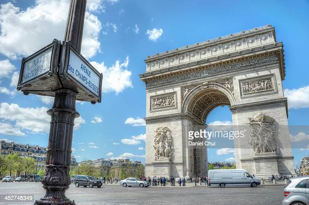 CONTENT] Signage for Charles de Gaulle and the Avenue des ChampsElysees with the Arc de Triomphe in the background on a bright and sunny day in Paris...