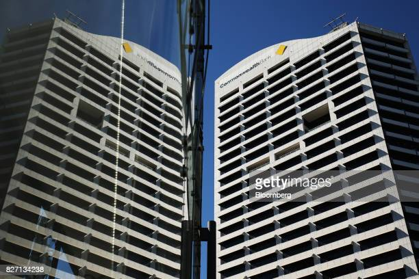 Signage for Commonwealth Bank of Australia is displayed atop the bank's head office in Sydney Australia on Monday Aug 7 2017 Commonwealth Bank has...