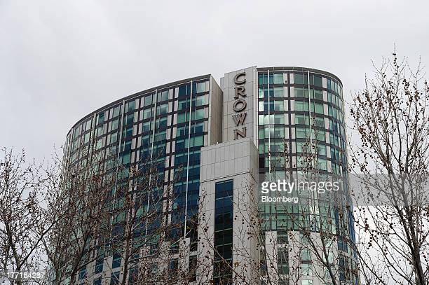 Signage for Crown Ltd is displayed atop the Crown Towers hotel part of the Crown Melbourne casino and entertainment complex in Melbourne Australia on...