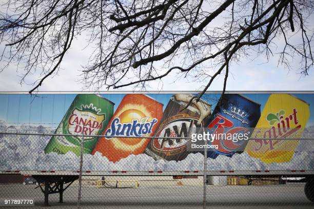 Signage for Dr Pepper Snapple Group Inc brand soda is seen on a delivery truck outside a facility in Louisville Kentucky US on Tuesday Feb 13 2018 Dr...