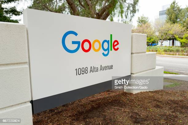 Signage for Google Inc at the Googleplex the Silicon Valley headquarters of search engine and technology company Google Inc Mountain View California...