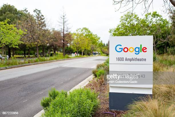 Signage for Google Inc at the main building of the Googleplex the Silicon Valley headquarters of search engine and technology company Google Inc...