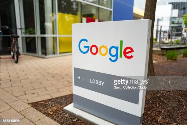 Signage for Google Inc with logo at the Googleplex headquarters of Google Inc in the Silicon Valley town of Mountain View California April 7 2017