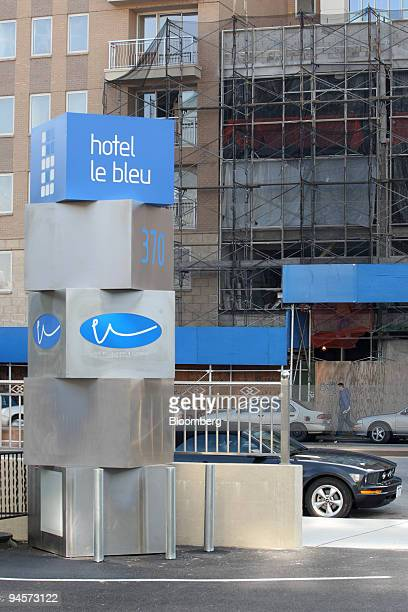 Signage for Hotel Le Bleu sits on 4th Avenue in the Brooklyn borough of New York US on Wednesday Oct 31 2007 Visitors at Hotel Le Bleu New York's...