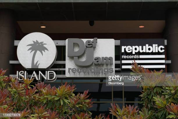 Signage for Island Records, Def Jam Recordings, and Republic Records outside outside Universal Music Group headquarters in Santa Monica, California,...