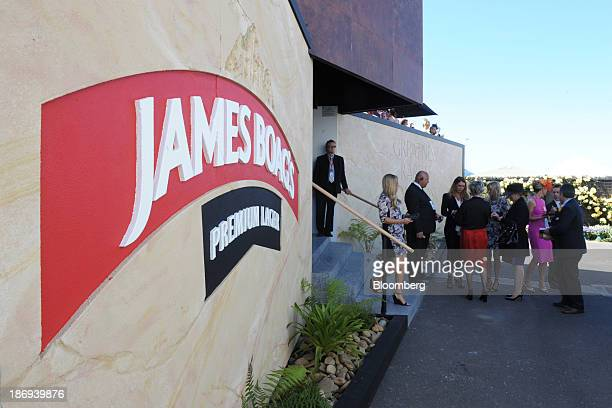 Signage for James Boag operated by Kirin Holdings Co's Lion unit is displayed outside a marquee in the Birdcage enclosure on Melbourne Cup Day at...