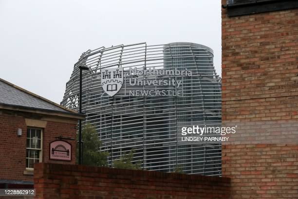 Signage for Northumbria University is seen in Newcastle-upon-Tyne, north-east England on October 3 as many students self-isolate in a bid to reduce...