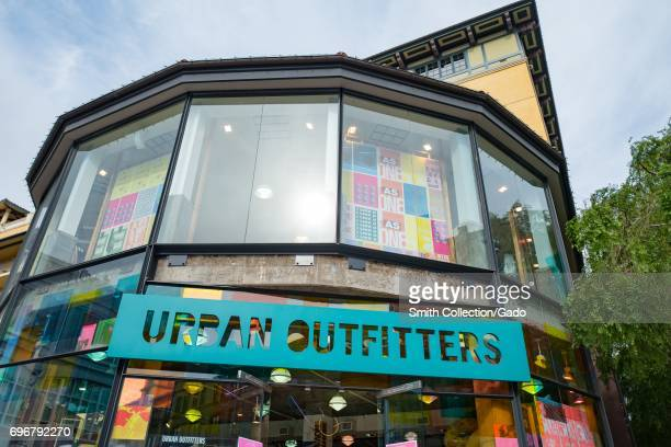 Signage for retail store Urban Outfitters in Santana Row an upscale outdoor shopping mall in the Silicon Valley town of San Jose California April 7...