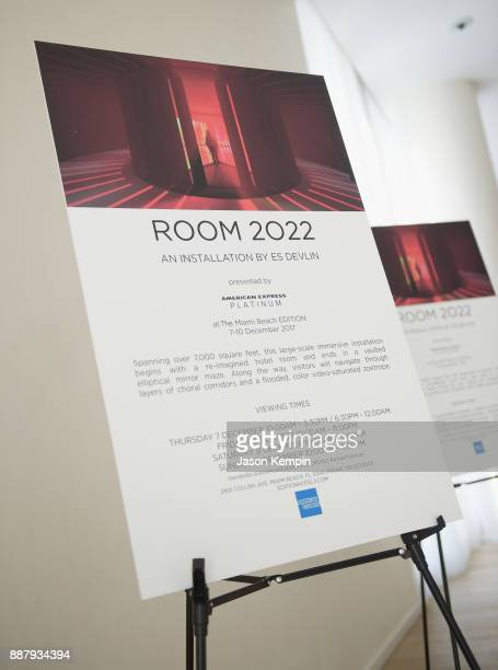 Signage for Room 2022 An Installation By Es Devlin Presented By American Express Platinum At The Miami Beach EDITION on December 7 2017 in Miami...