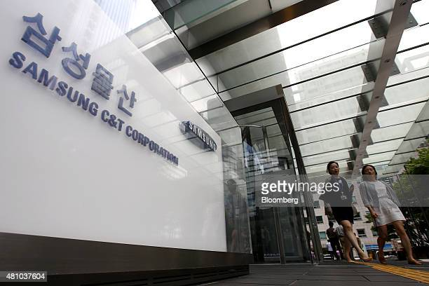 Signage for Samsung CT Corp is displayed at the company's headquarters in Seoul South Korea on Friday July 17 2015 Samsung Group prevailed in one of...