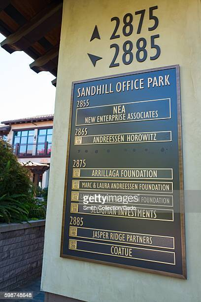 Signage for Sandhill Office Park with listings for several prominent venture capital investment firms including New Enterprise Associates Andreessen...