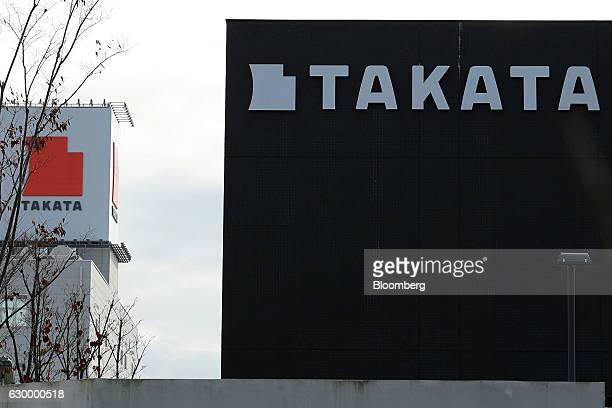 Signage for Takata Corp are displayed at the company's Echigawa plant in Echigawa Shiga Japan on Friday Nov 25 2016 Takata's selection of a bidder is...