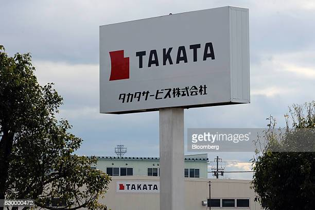 Signage for Takata Corp are displayed at the company's Hikone plant in Hikone Shiga Japan on Friday Nov 25 2016 Takata's selection of a bidder is...